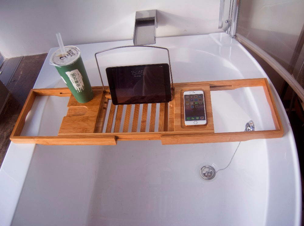Bamboo Bathtub Tray Handcrafted Bath Tray Bathroom Shelves bathtub ...