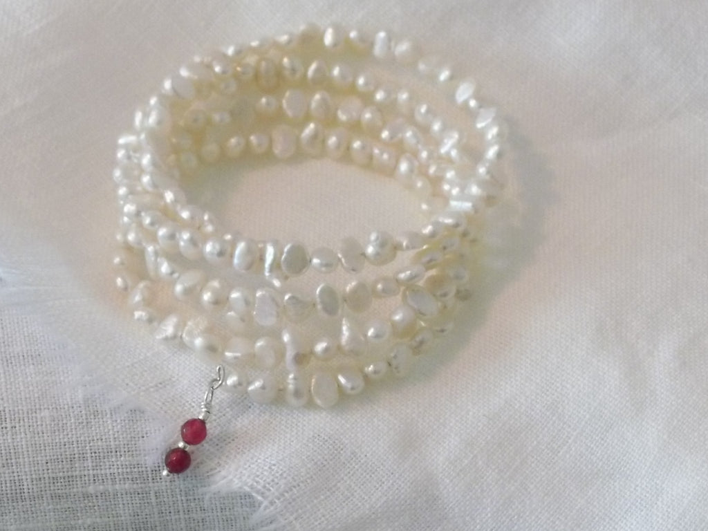 Freshwater Pearl Bracelet With Ruby Drop