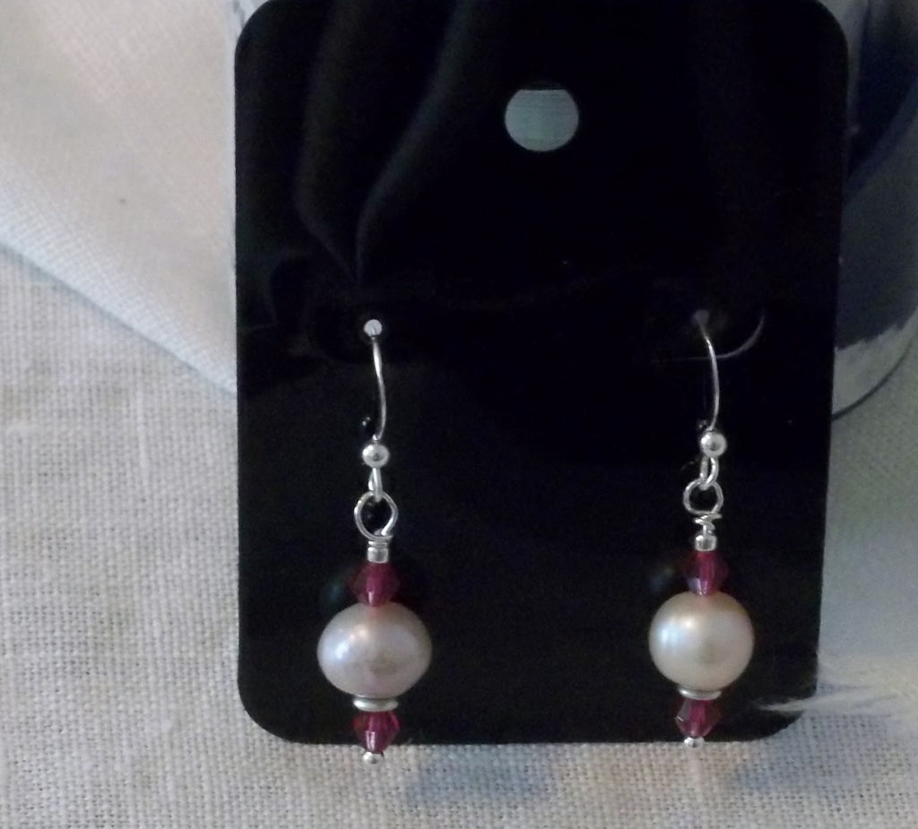 Freshwater Pearl With Fucsia Swavorski Crystals Sterling Silver French Wires