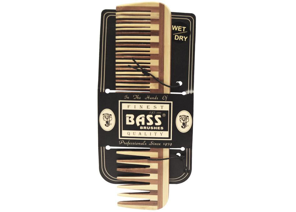 Bass Bamboo Wood Comb Large - Wide & Fine Tooth