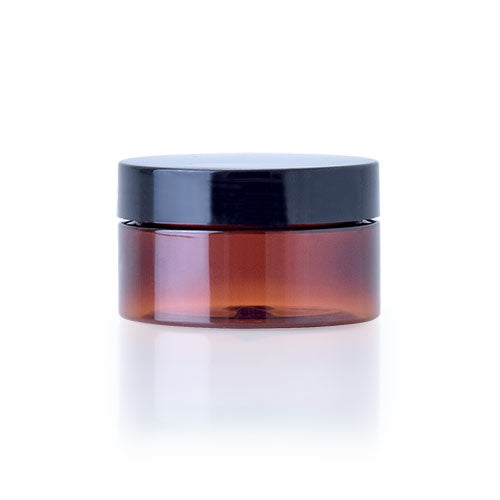 Amber Plastic Jar 100mL with Black Lid