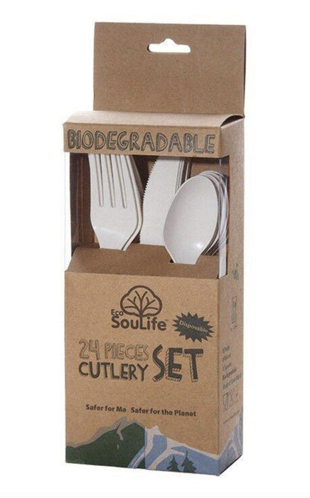 Eco Soulife Cornstarch 24 Piece Disposable Cutlery Set-Disposable Plates/Cups/Cutlery-Eco Warehouse Aus