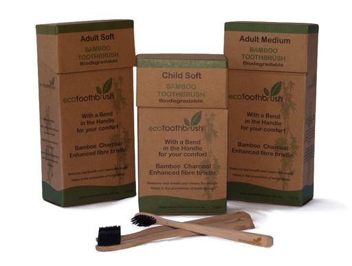Bamboo Charcoal Toothbrush Adult Soft-Bathroom-Eco Warehouse Aus
