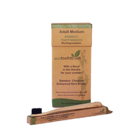 Bamboo Charcoal Toothbrush Adult Medium-Bathroom-Eco Warehouse Aus