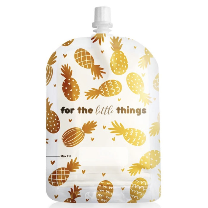 Sinchies 150ml Top Spout Reusable Food Pouches - 5 Pack Pineapples