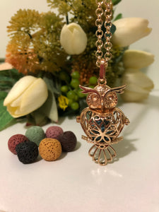 Owl Lava Stone Gold Necklace