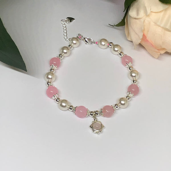 Rose Quartz & Shell Pearl Bracelet