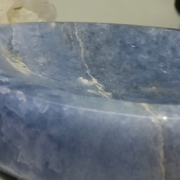 Blue Calcite Leaf Bowl BOW4