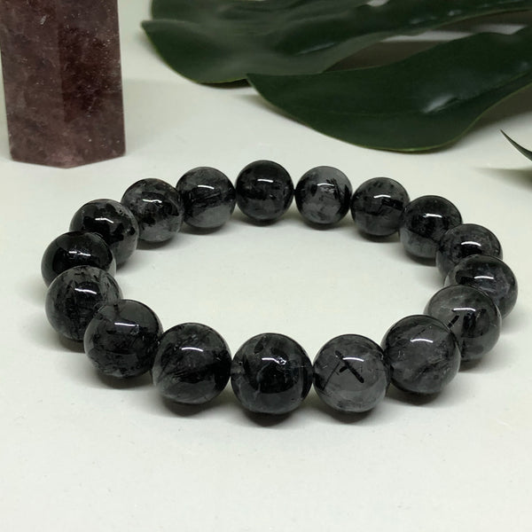 Black Tourmaline in Quartz Bracelet BL123