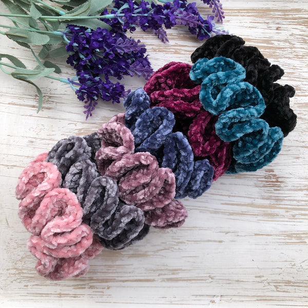 Luxe Velvet Scrunchies - Gray