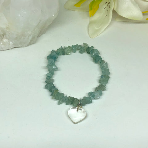 Clear Quartz Heart & Aquamarine Chips Bracelet