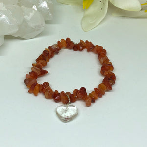 Clear Quartz Heart & Carnelian Chips Bracelet