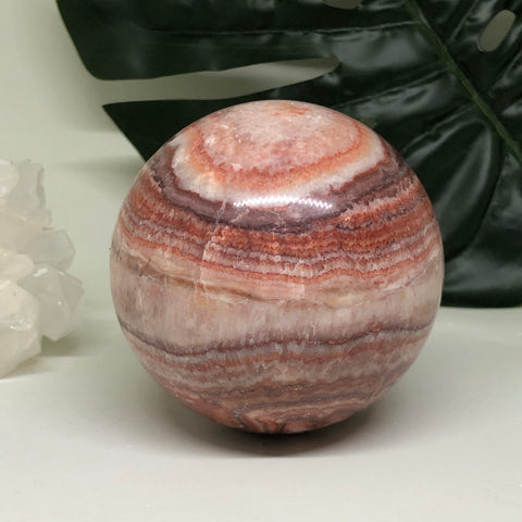 Red Banded Calcite Sphere RBCS01