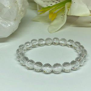Clear Quartz Round Cuts Bracelet