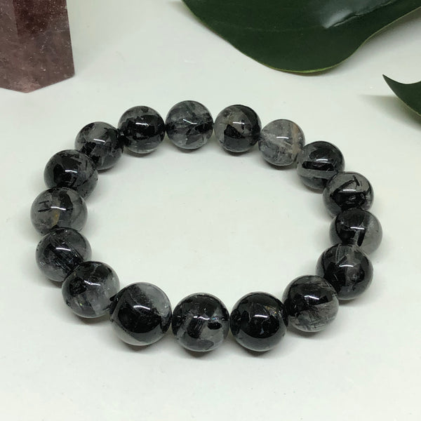 Black Tourmaline in Quartz Bracelet BL133