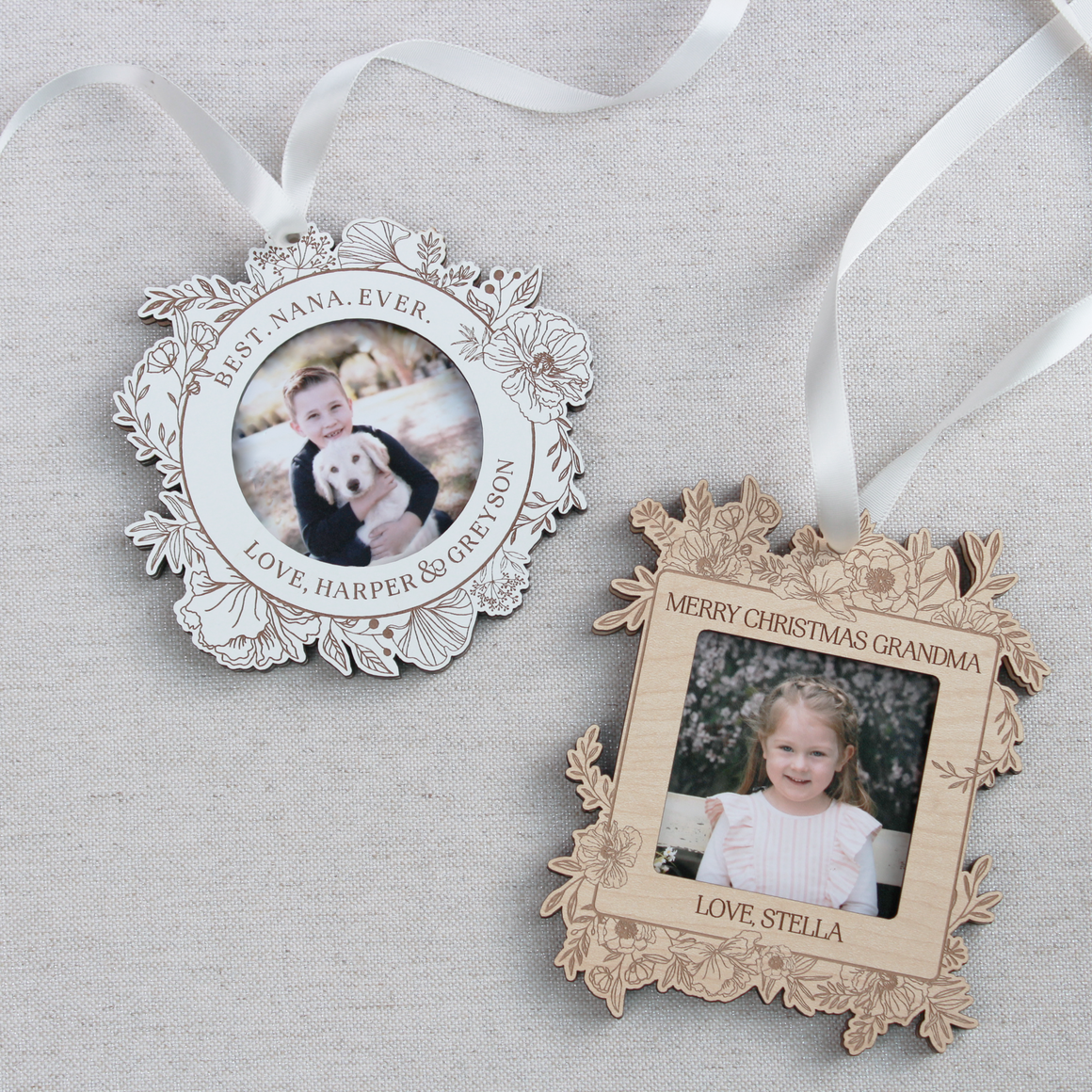 Botanical Wood Photo Frame Ornament
