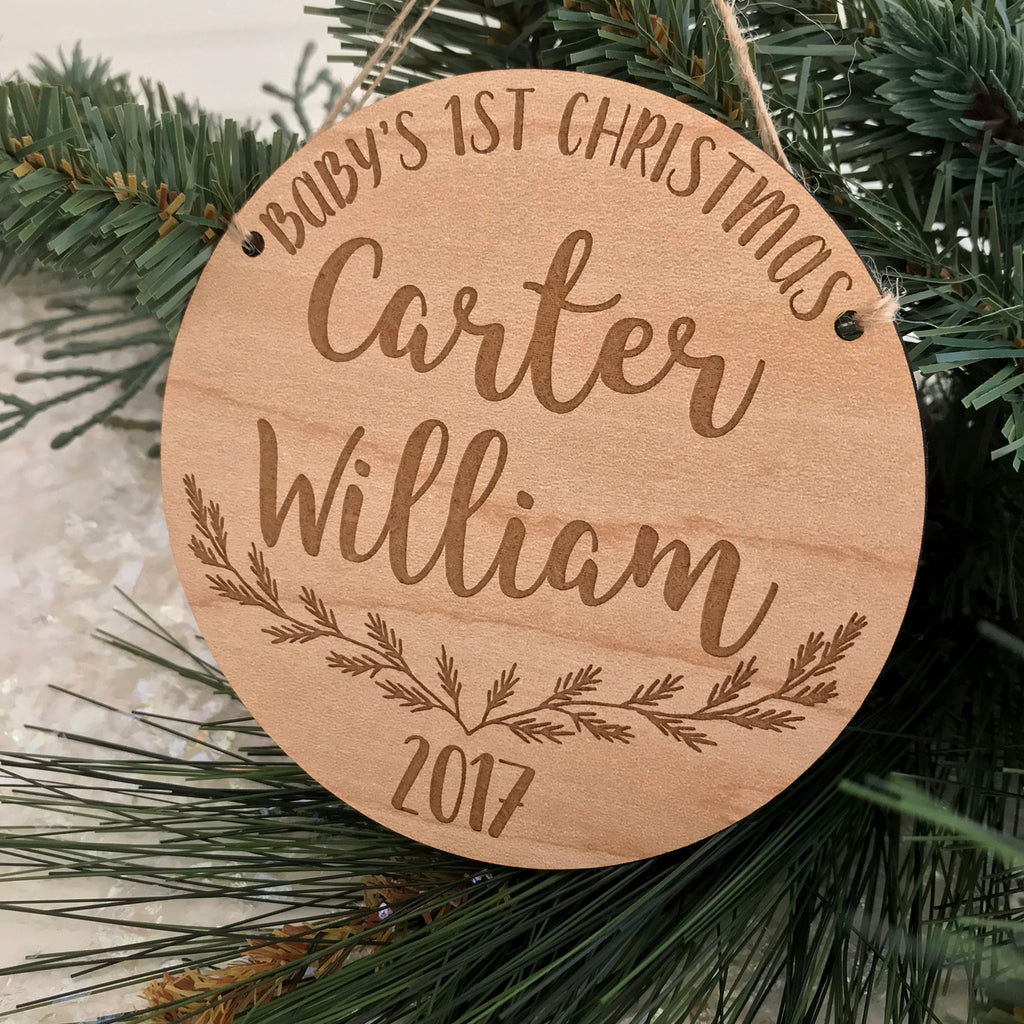Personalized Baby's 1st Christmas Pine Branch Ornament