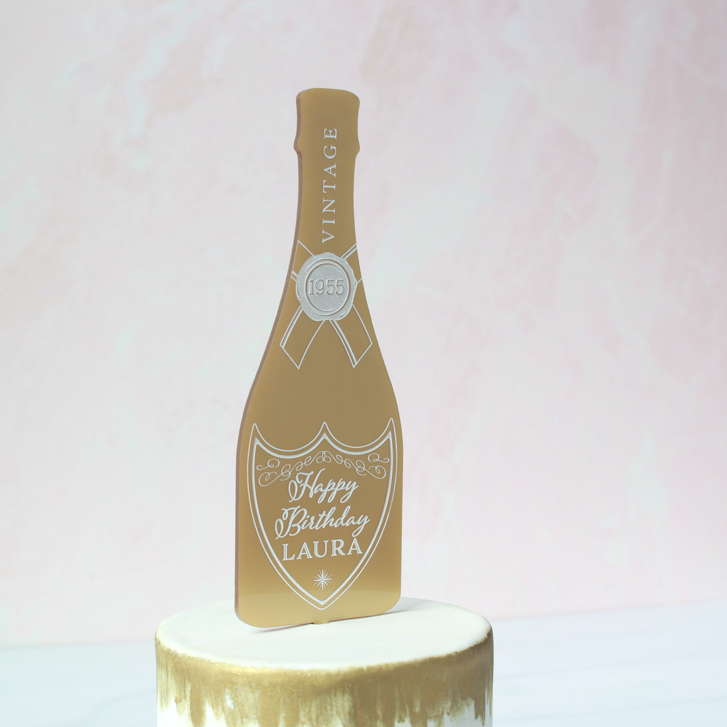 Pop the Bubbly Birthday Cake Topper