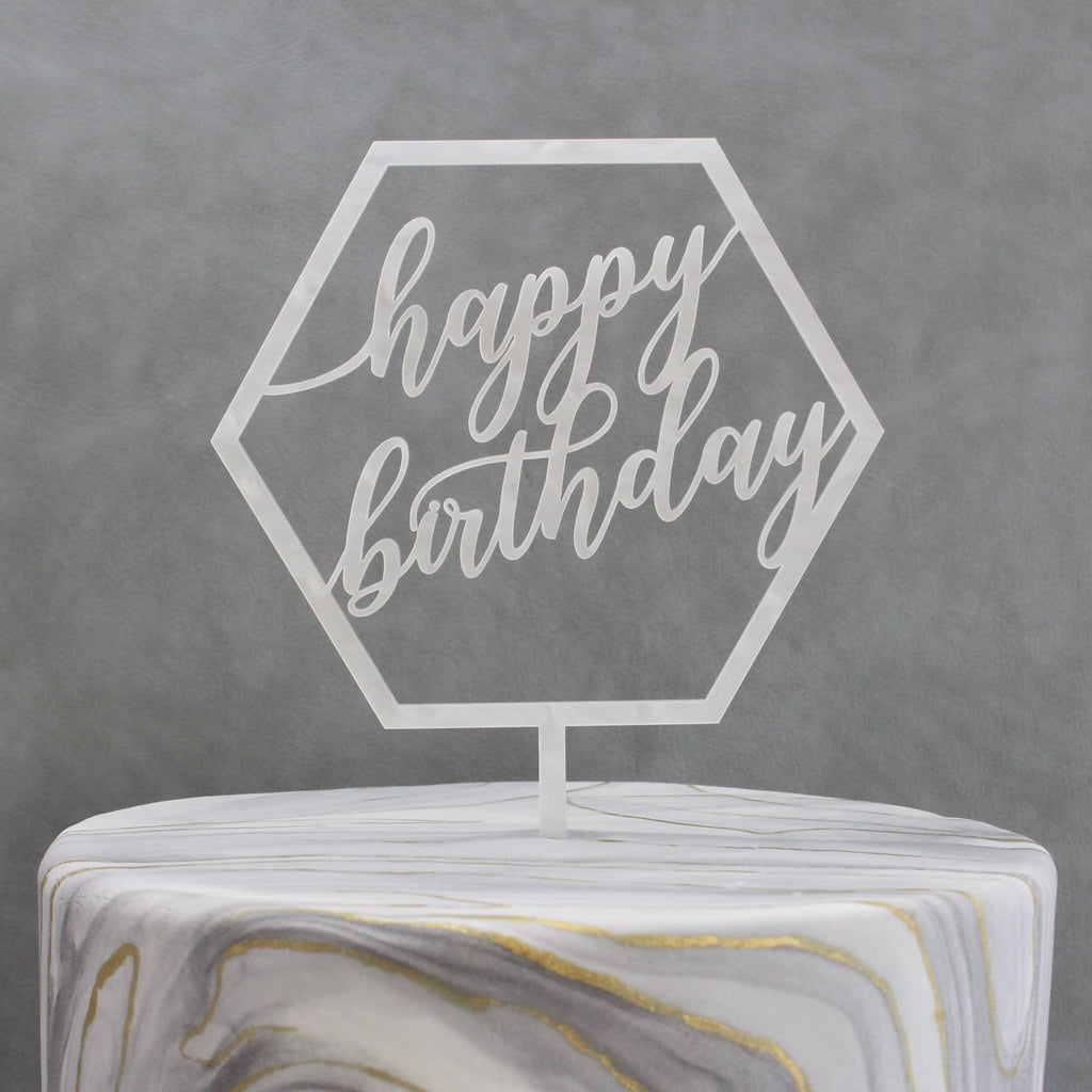 Geo Collection Happy Birthday Cake Topper