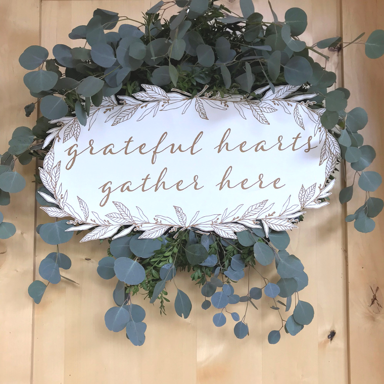 Grateful Hearts Wreath Plaque