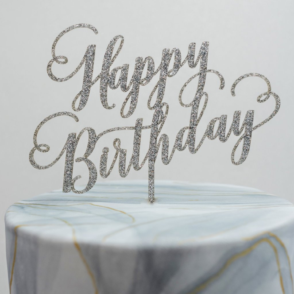 Happy Birthday Script Cake Topper