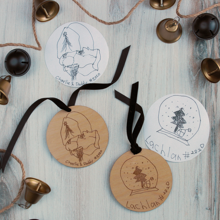 Kiddo Hand Drawn Ornament - Wood