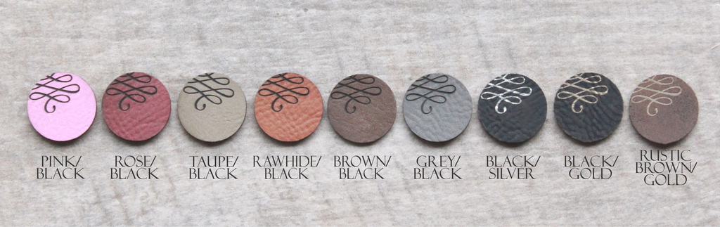 Engraved vegan leather colors