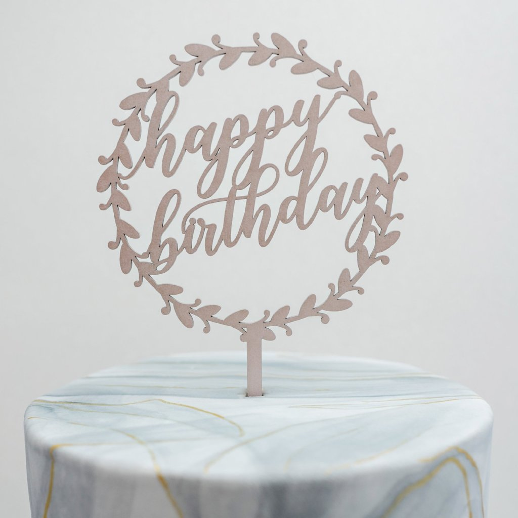 Marielle Wreath Happy Birthday Cake Topper