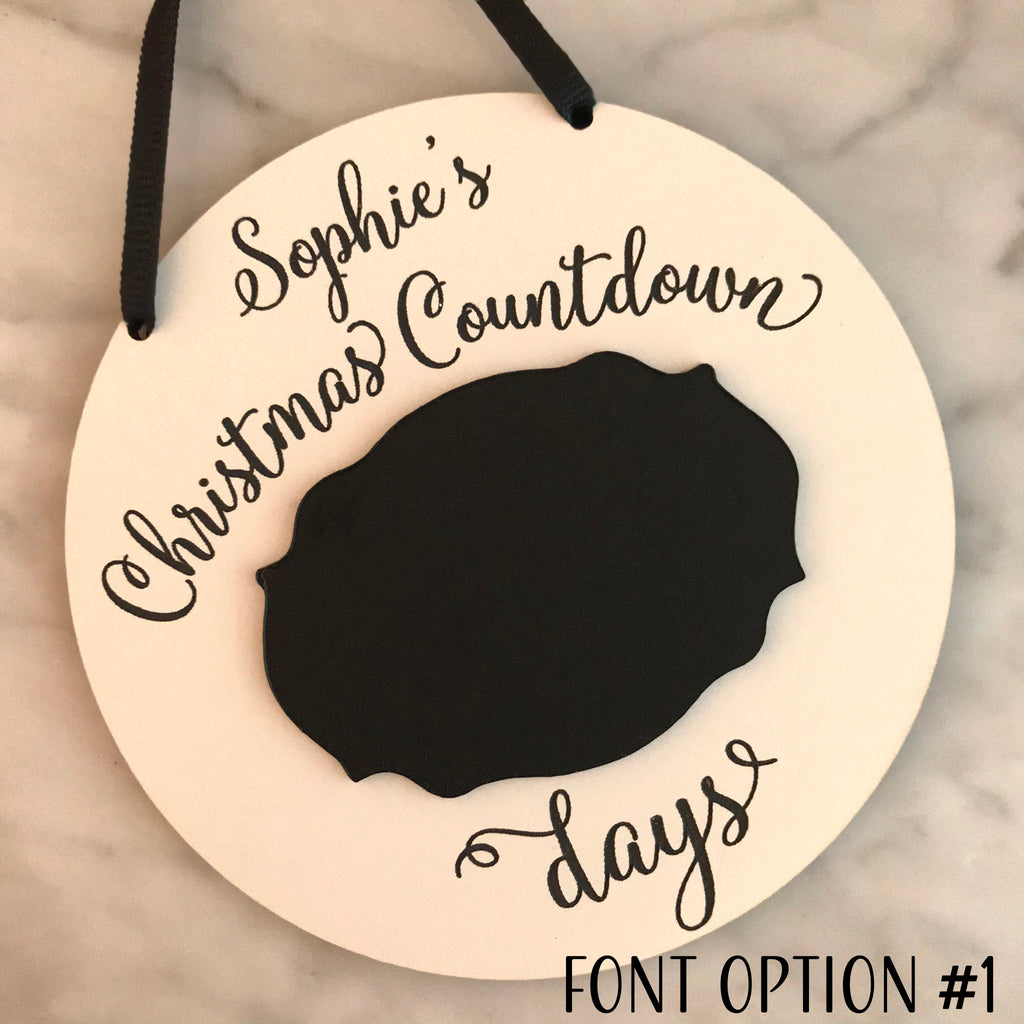 Personalized Christmas Countdown Chalkboard Sign