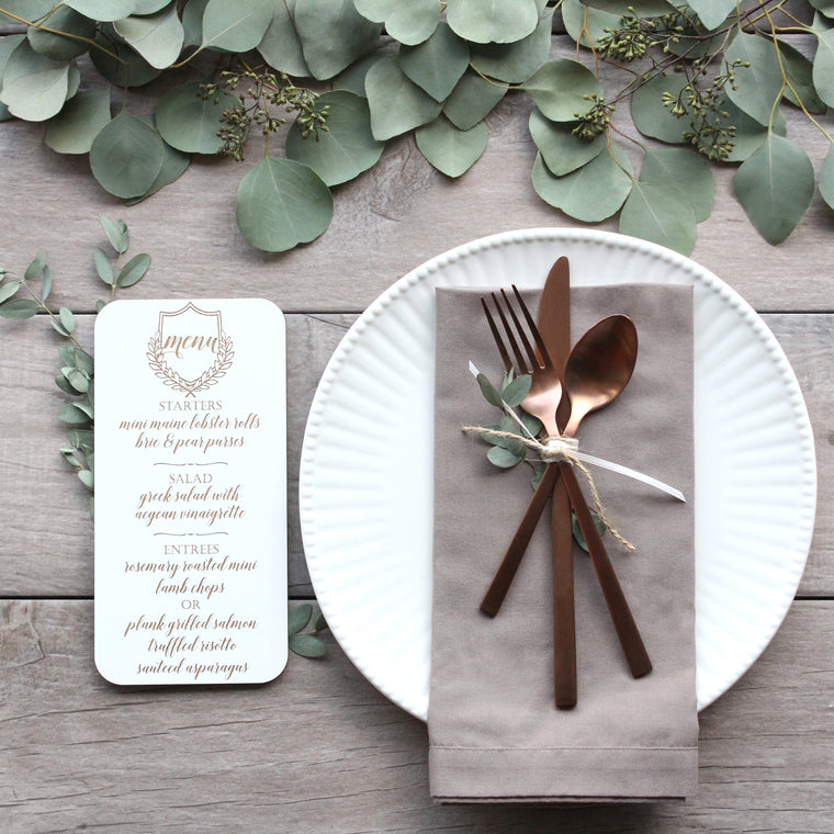 Wood Engraved Place Setting Menus