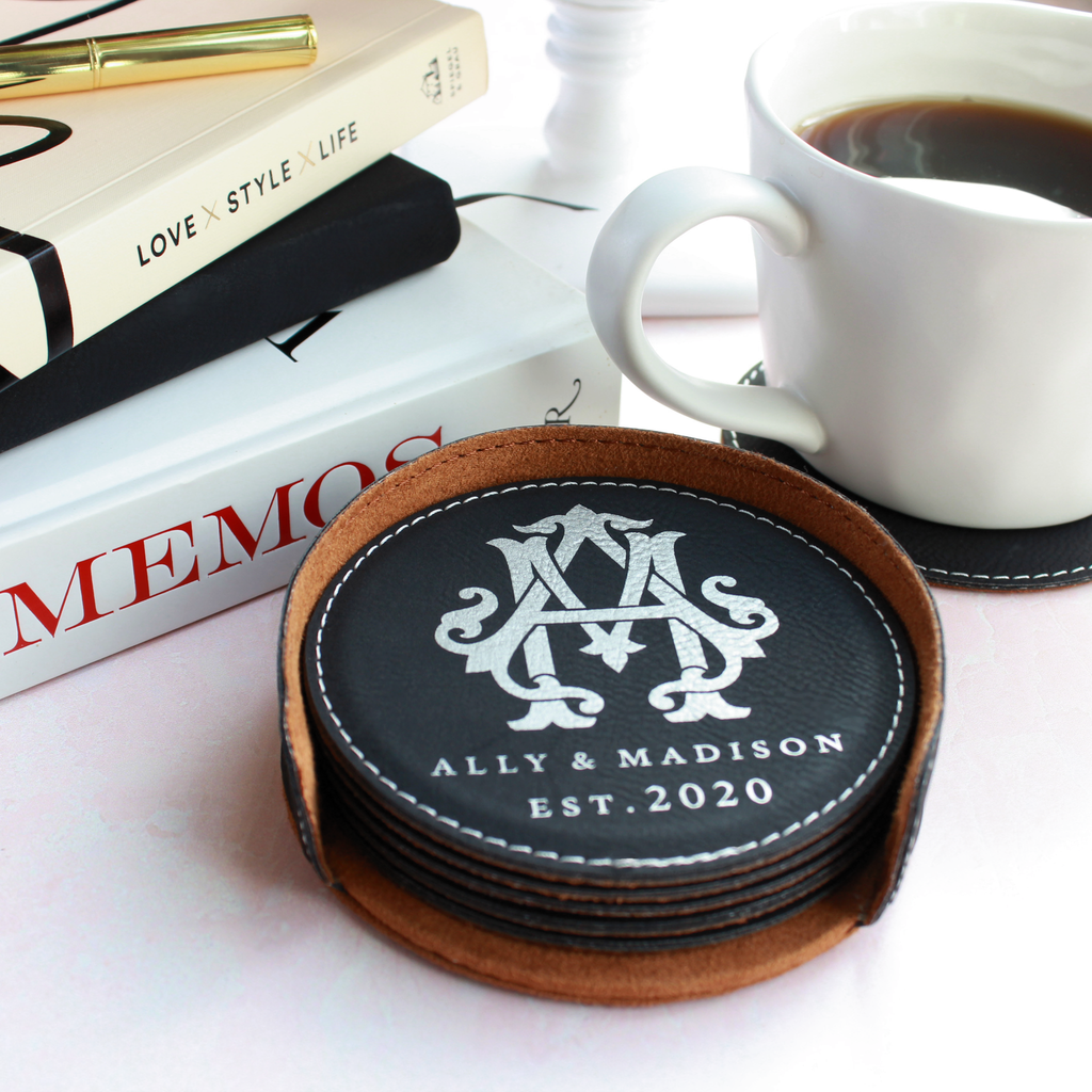 Personalized Leather Coasters - Round, Set of 6 with Holder