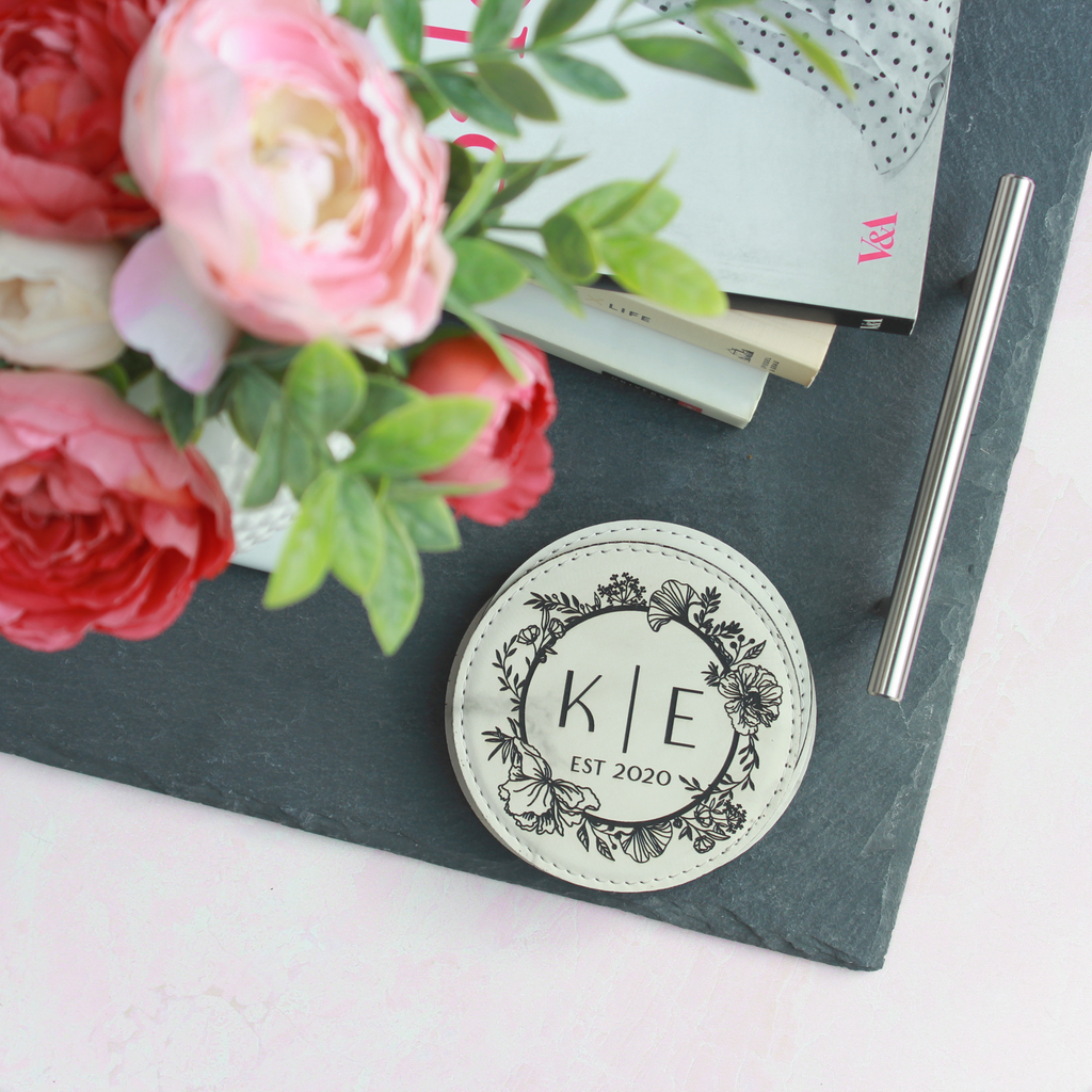 Personalized Leather Coasters - Round, Set of 4