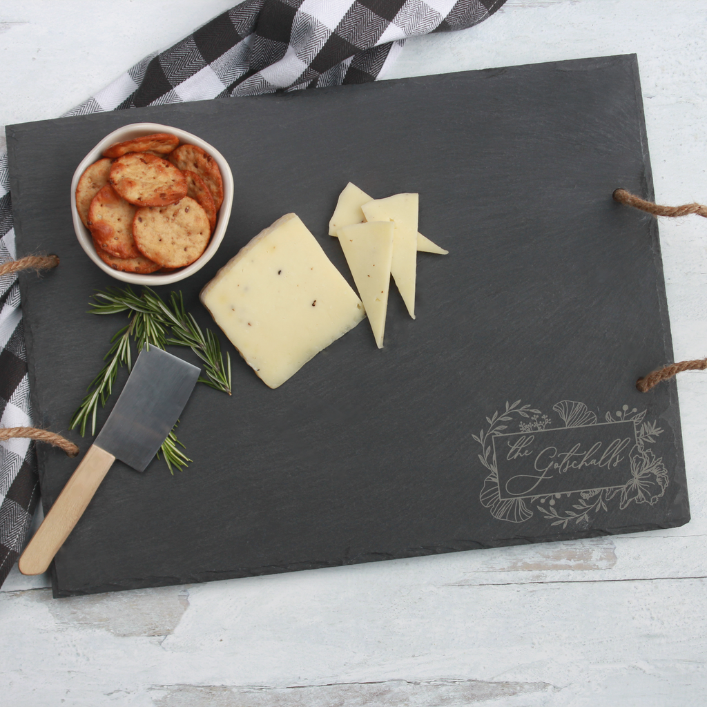 Rustic Slate Cheese Board with Rope Handles