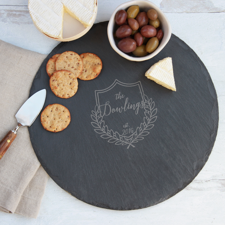 Rustic Round Slate Serving Tray