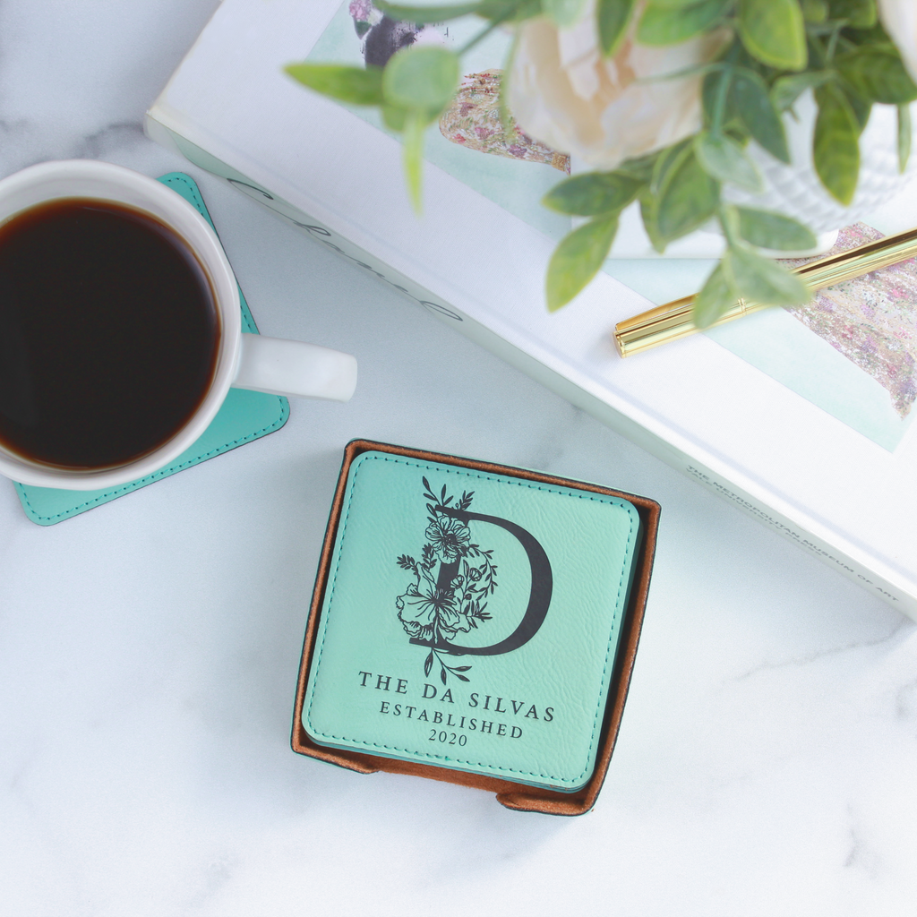 Personalized Leather Coasters - Square, Set of 6 With Holder