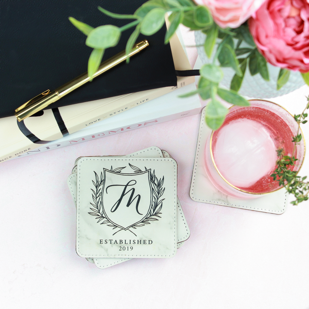 Personalized Leather Coasters - Square, Set of 4