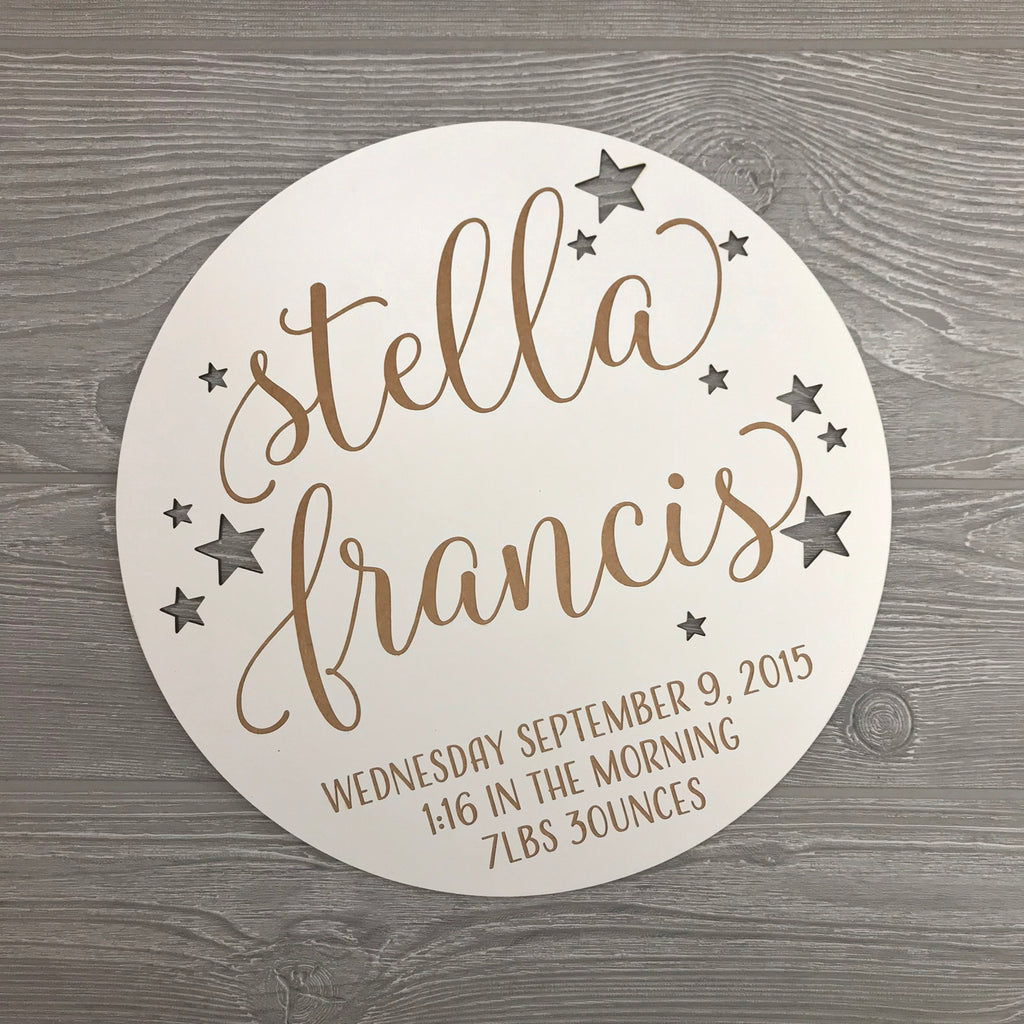 Stella Personalized Birth Detail Plaque