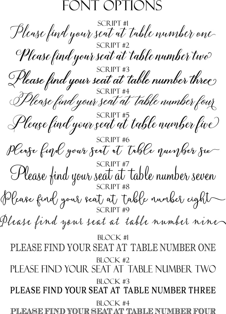 Wreath Table Numbers