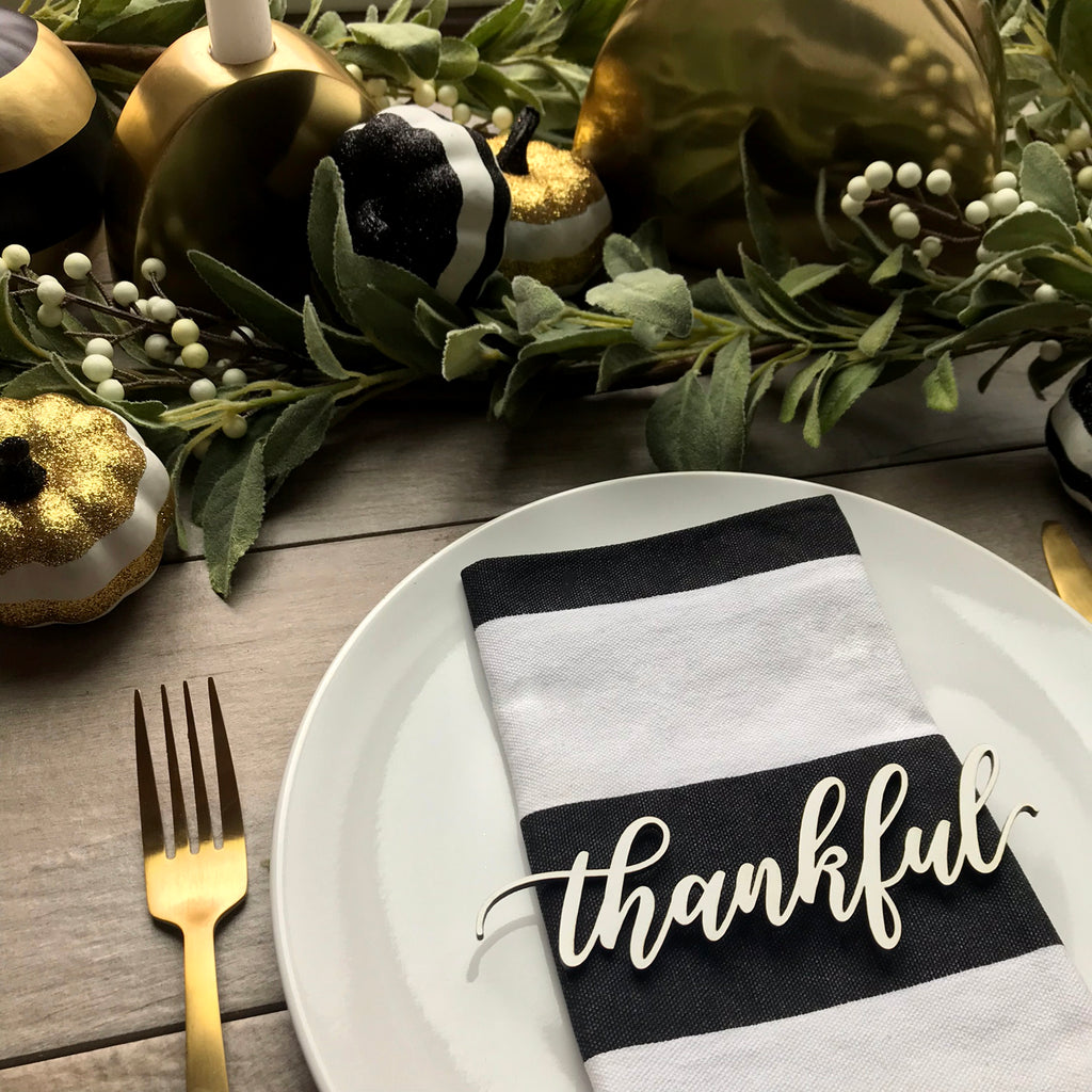 Thanksgiving Napkin Tags - Wood