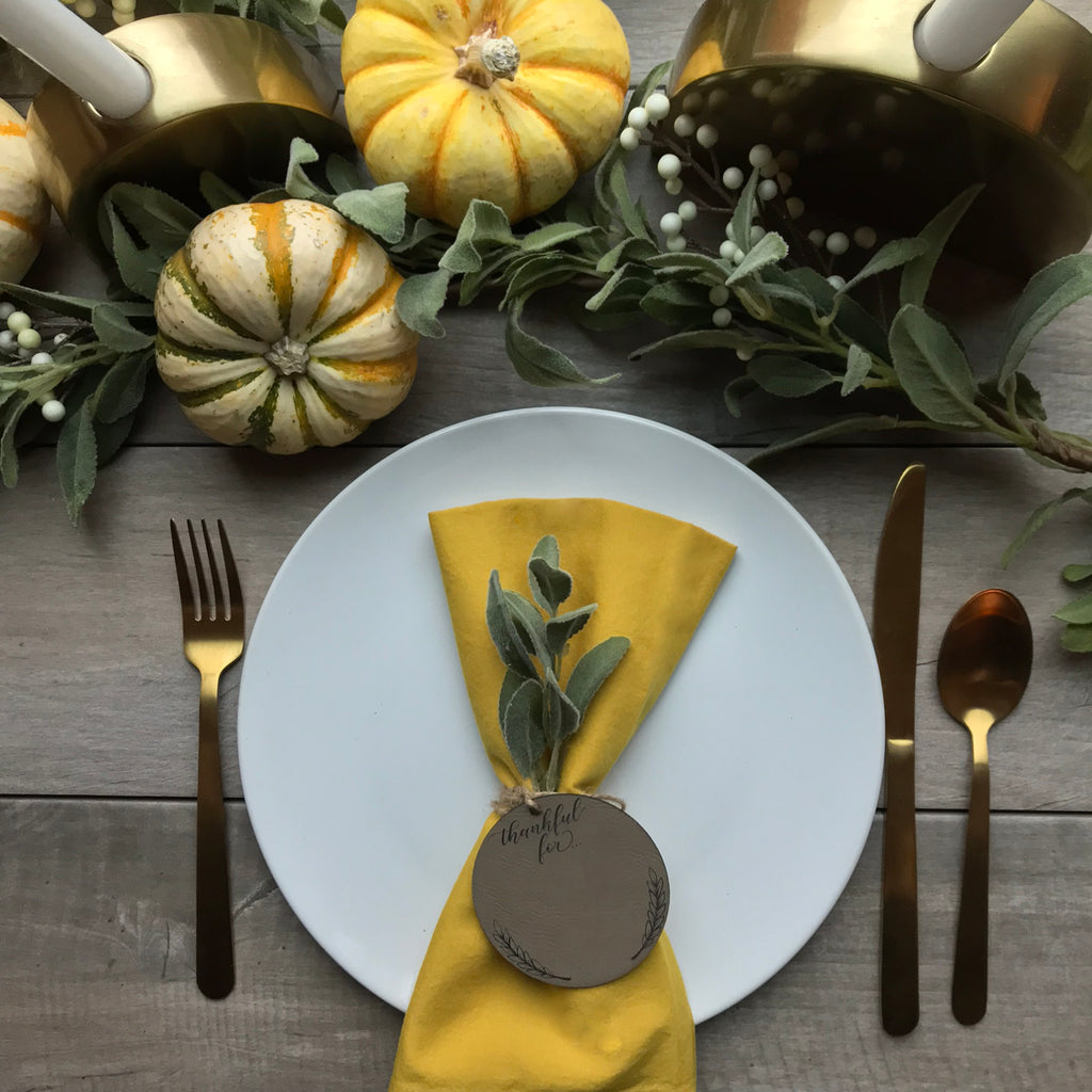 """Thankful For..."" Napkin Tag - Leatherette"