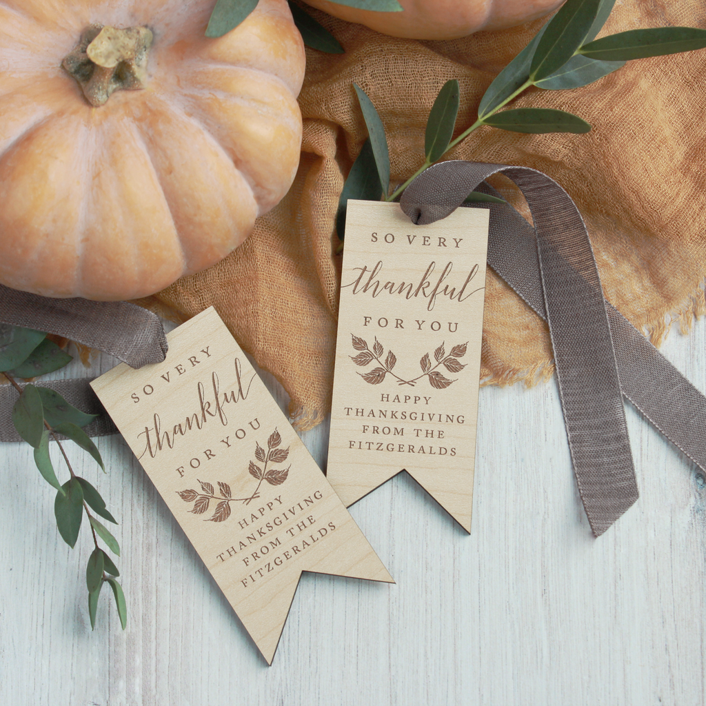 Fall Leaves Laurel Personalized Wood Tags