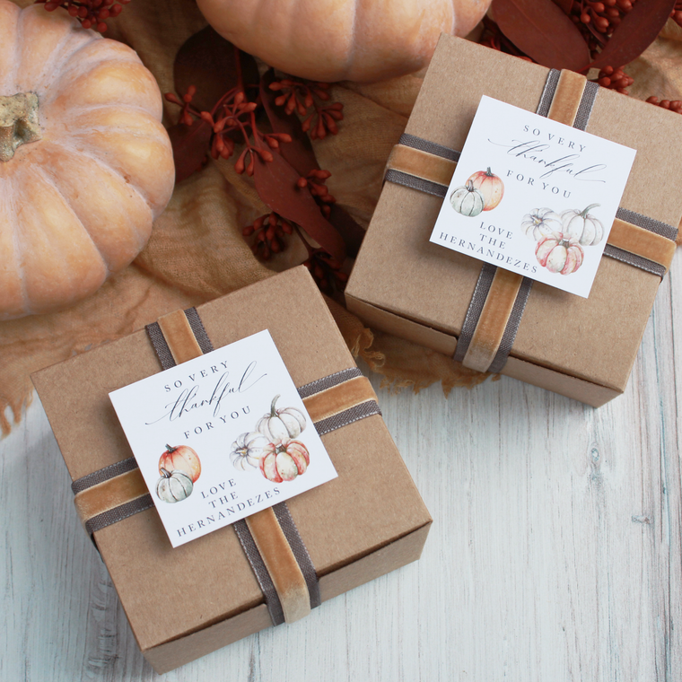 Watercolor Pumpkins - Printable Thanksgiving Tags