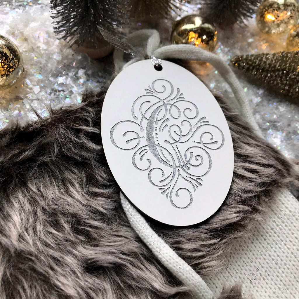 Vintage Scroll Monogram Stocking Tag