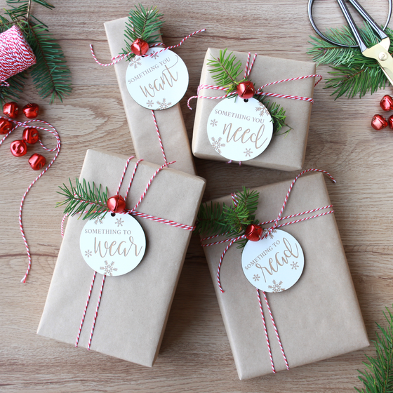 Want, Need, Wear, Read Holiday Gift Tag Set