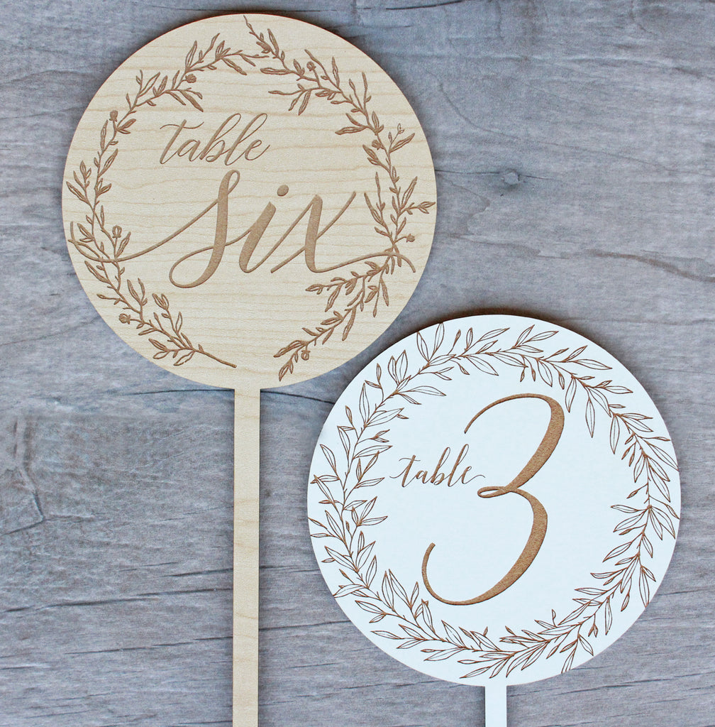 Wreath Centerpiece Table Numbers