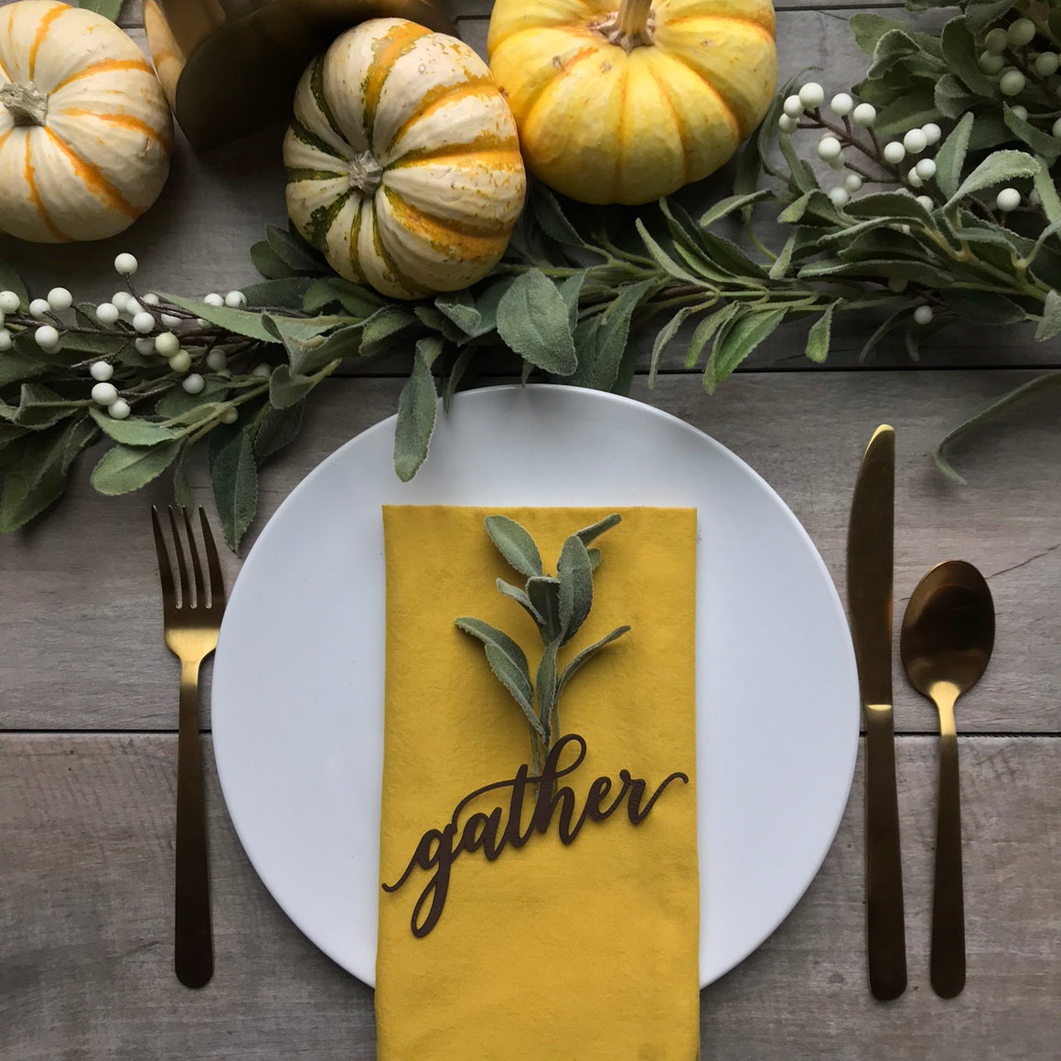 Thanksgiving Napkin Tags - Vegan Leather