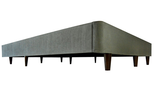 Upholstered KD Wood Foundation with legs, gray upholstery