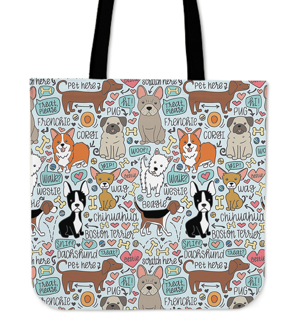 Lots of Pooches Linen Tote Bag - 24 Style