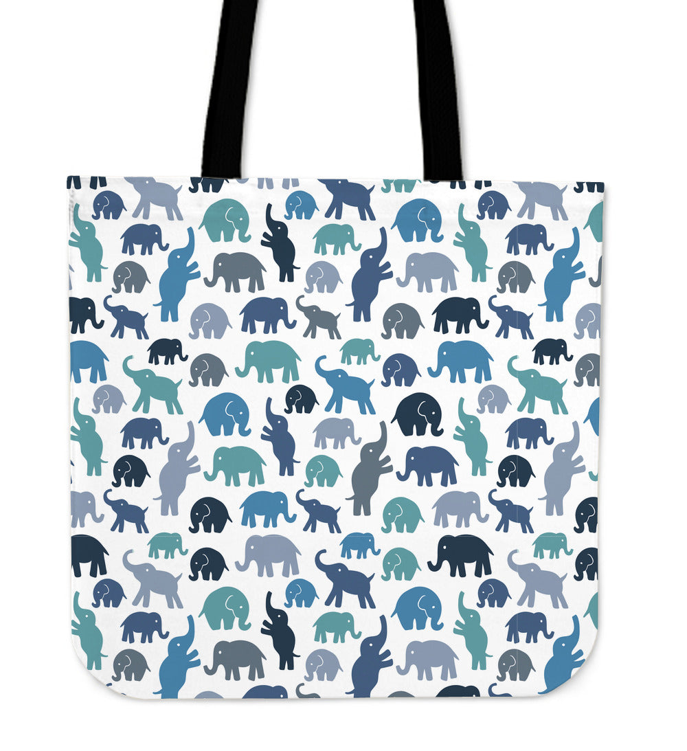 Blue Elephants Linen Tote Bag - 24 Style