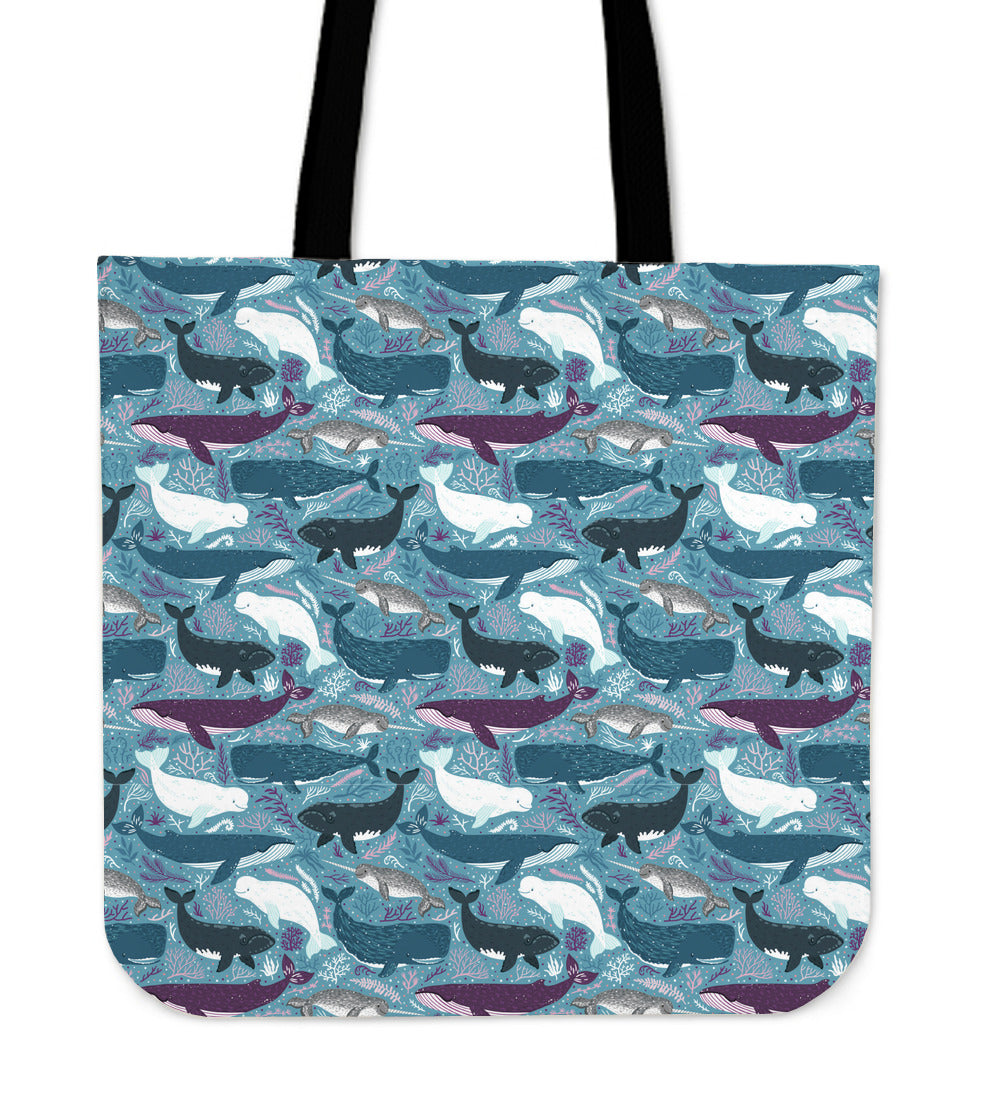 Lots of Whales Linen Tote Bag